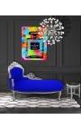 Grande méridienne baroque tissu velours bleu et bois argent