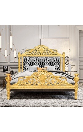 Baroque bed with white floral pattern fabric and gold leaf wood