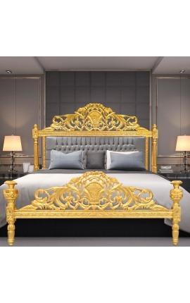 Lit Baroque tissu velours gris et bois doré