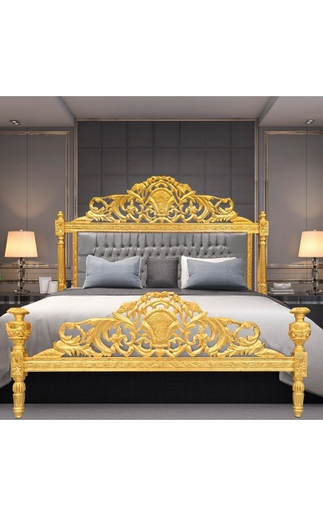 Baroque bed grey velvet fabric and gold wood