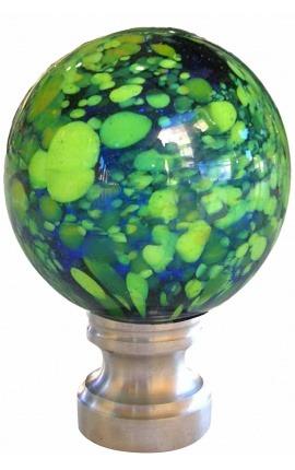 Boule d'escalier en verre soufflé façon Murano