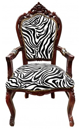 Armchair Baroque Rococo style zebra printed fabric and mahogany wood color