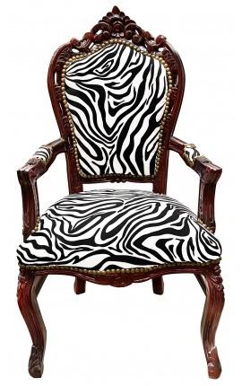 Fauteuil de style Baroque Rococo zebre et bois couleur acajou