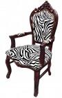 Baroque Rococo armchair zebra fabric and mahogany wood color