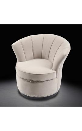 "Art Deco design tulip armchair ""Hestia"" in beige velvet"