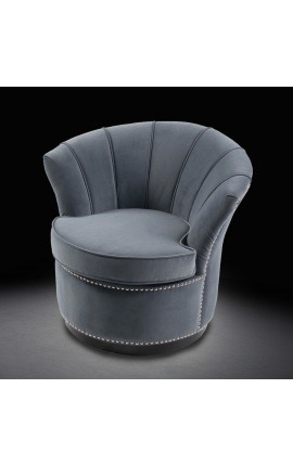 "Art Deco design tulip armchair ""Hestia"" in gray velvet"