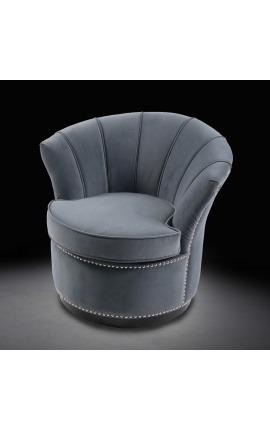"Fauteuil ""Hestia"" tulipe design Art Deco en velours gris"