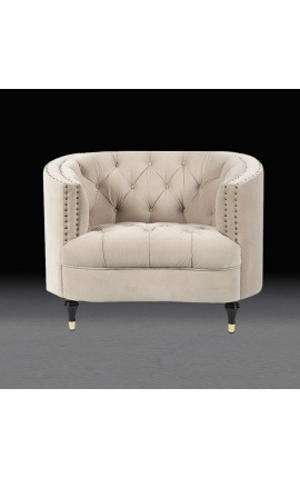 "Large armchair ""Ceos"" with Art Deco design corbeille in beige velvet"