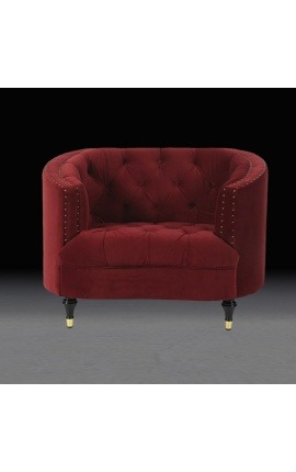 "Large fauteuil ""Ceos"" corbeille design Art Deco en velours bordeaux"