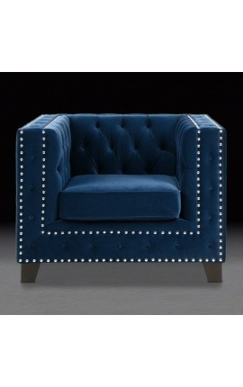 "Art Deco design ""Phebe"" armchair in bleu velvet"