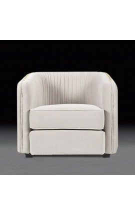 "Art Deco design ""Leto"" armchair in beige velvet"