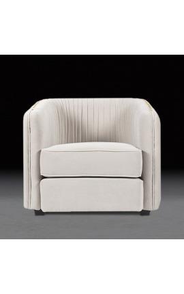 """Art Deco design """"Leto"""" armchair in beige velvet"""