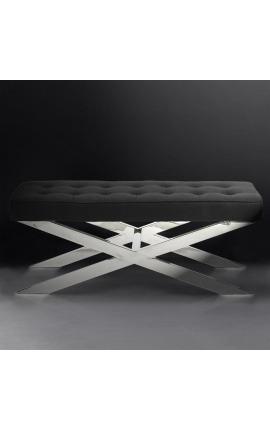 Скамья «Styx» из серебристой нержавеющей стали и черного полотна