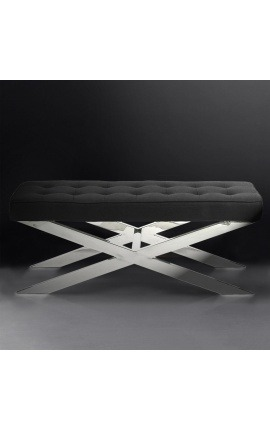 "Bench ""Styx"" in silver-plated stainless steel and black linen"