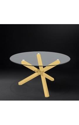 """Grande table de repas """"Athena"""" en acier inoxydable doré et plateau en verre"""