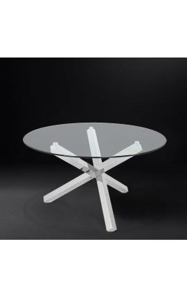 Большой обеденный стол «Athena» из серебристой нержавеющей стали и стекла