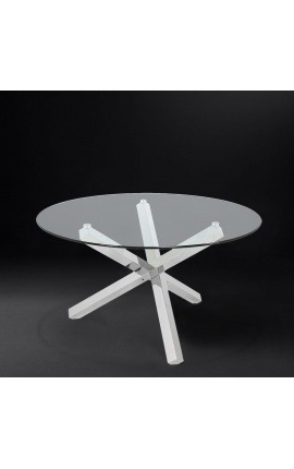 "Large dining table ""Athena"" in silver finish stainless steel and glass top"