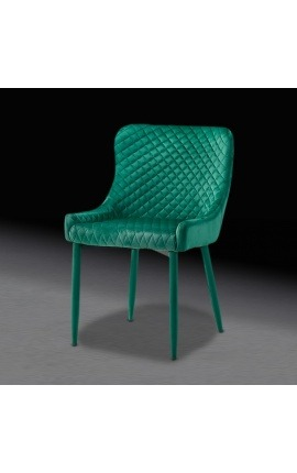 """""""Asteria"""" design dining chair in green velvet with green feet"""