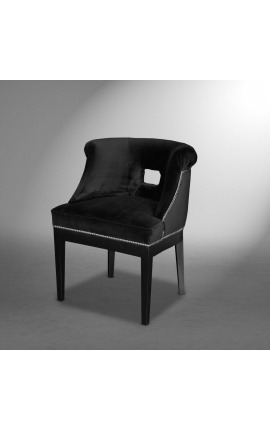 """Thanat"" design dining chair in black velvet with openwork backrest"