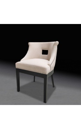 """Thanat"" design dining chair in beige velvet with openwork backrest"