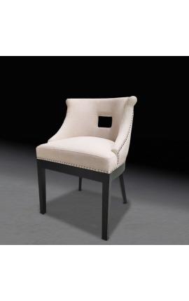 """""""Thanat"""" design dining chair in beige velvet with openwork backrest"""