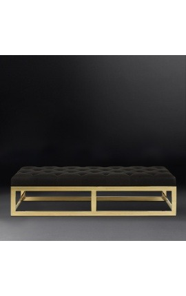 "Large ""Pontoz"" bench in golden stainless steel and black linen"