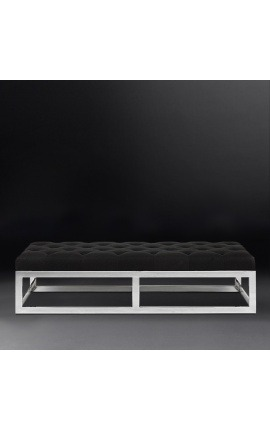 "Large ""Pontoz"" bench in silver stainless steel and black linen"