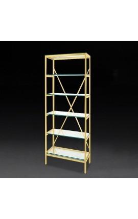 """Bibliothèque """"Marthen"""" en acier inoxydable doré et étagères en verre - 60 cm"""