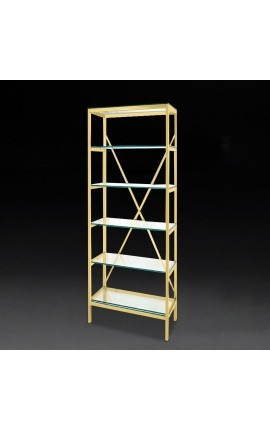 """Marthen"" shelving in golden stainless steel and glass shelves - 60 cm"