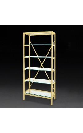 """Bibliothèque """"Marthen"""" en acier inoxydable doré et étagères en verre - 80 cm"""