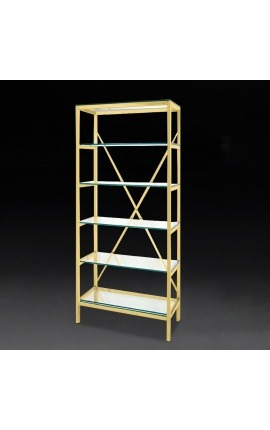 """Marthen"" shelving in golden stainless steel and glass shelves - 80 cm"