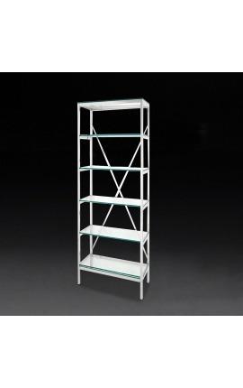"""Bibliothèque """"Marthen"""" en acier inoxydable argenté et étagères en verre - 60 cm"""