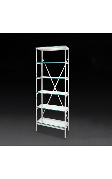 """""""Marthen"""" shelving in silver stainless steel and glass shelves - 60 cm"""