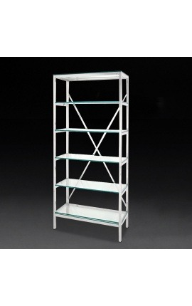"""Bibliothèque """"Marthen"""" en acier inoxydable argenté et étagères en verre - 80 cm"""