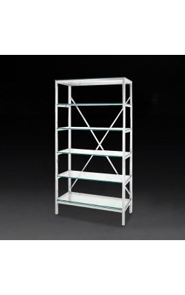 """Bibliothèque """"Marthen"""" en acier inoxydable argenté et étagères en verre - 100 cm"""
