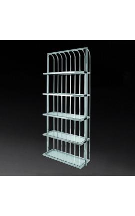 """Bibliothèque """"Yann"""" en acier inoxydable argenté et étagères en verre"""