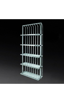 """Yann"" bookcase in silver stainless steel and glass shelves"