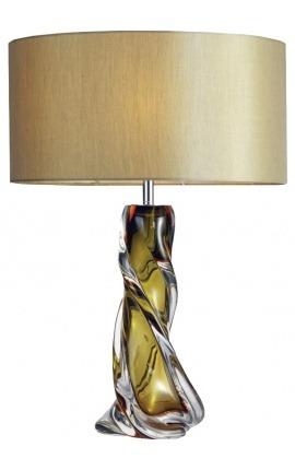 """Настольная лампа """"Jonas"""" из дутого стекла цвета охры и прозрачности."""