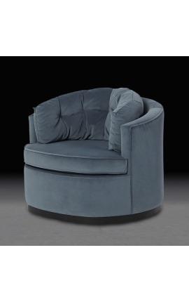 """Fauteuil arrondi """"Antano"""" design Art Deco en velours gris"""