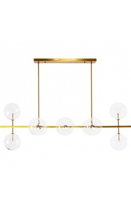 "Chandelier ""Esaka"" with 10 lights in brass-colored metal and glass"