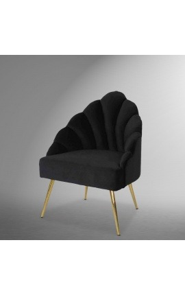 "Art Deco design shell ""Shelly"" armchair in black velvet and gold metal"
