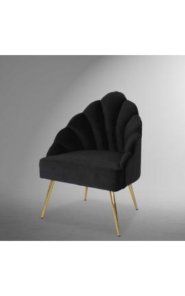 """Fauteuil """"Shelly"""" coquillage design Art Deco en velours noir et métal doré"""
