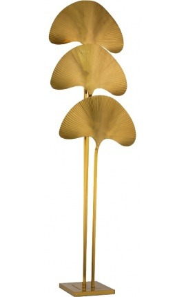 """Ginkgo"" floor lamp in brass-colored metal, Art-Deco inspiration"