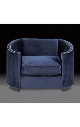 """Large fauteuil """"Anteos"""" corbeille design Art Deco en velours bleu"""