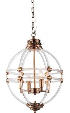 Round openwork brass-colored entrance hall lantern 43 cm