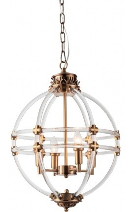 Round openwork brass-colored entrance hall lantern 43 cm