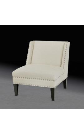 """Art Deco design """"Ariana"""" reading armchair in beige linen"""