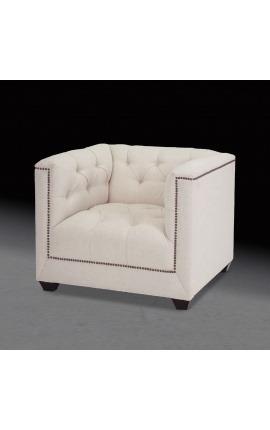 """Art Deco design """"Morina"""" armchair in beige linen"""
