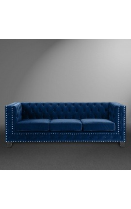 "3-seater ""Phebe"" sofa design Art Deco in dark blue velvet"