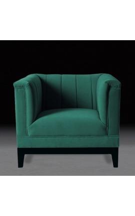 """Fauteuil """"Guerico"""" design Art Deco en velours vert"""